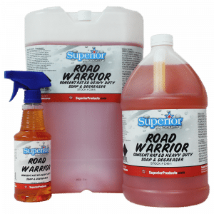 Road Warrior is a versatile soap/degreaser with more uses than most. Road Warriors non caustic and neutral formula makes it ideal for black streak remover on gel coats such as RV's and boats. Road Warrior is water based so it will not harm decals on the sides of your camper or boat. This product also works great on cleaning gutters and siding on your home. Safe for use in pressure washers